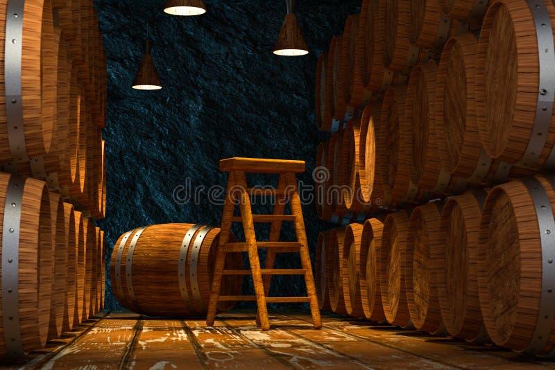 Wooden cellar with barrels inside, vintage beverage warehouse, 3d rendering. Computer digital background royalty free illustration