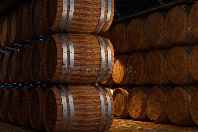 Wooden cellar with barrels inside, vintage beverage warehouse, 3d rendering. Computer digital background stock illustration