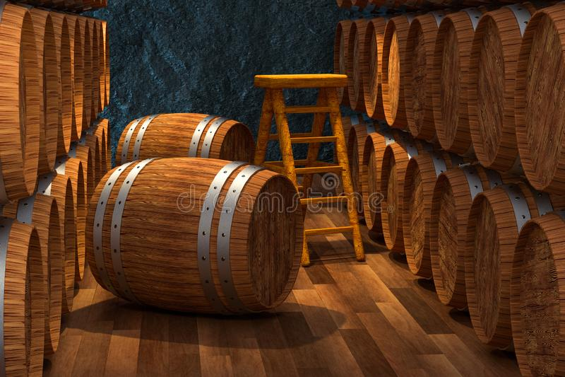 Wooden cellar with barrels inside, vintage beverage warehouse, 3d rendering. Computer digital background vector illustration