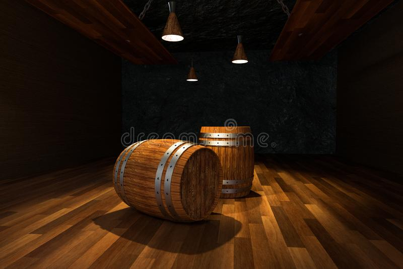 Wooden cellar with barrels inside, vintage beverage warehouse, 3d rendering. Computer digital background bucket old container rustic retro ancient rural pail royalty free illustration