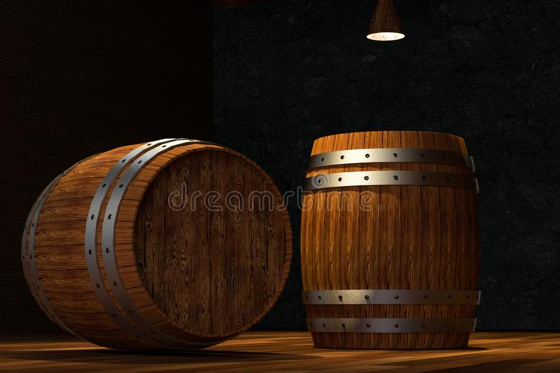 Wooden cellar with barrels inside, vintage beverage warehouse, 3d rendering. Computer digital background bucket old container rustic retro ancient rural pail stock illustration
