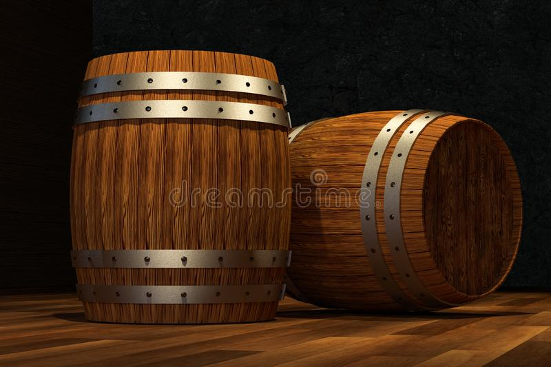 Wooden cellar with barrels inside, vintage beverage warehouse, 3d rendering. Computer digital background bucket old container rustic retro ancient rural pail vector illustration