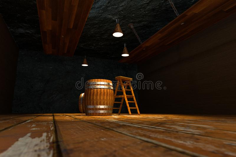 Wooden cellar with barrels and ladder inside, vintage beverage warehouse, 3d rendering. Computer digital background bucket container rustic retro ancient stock illustration