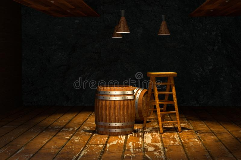 Wooden cellar with barrels and ladder inside, vintage beverage warehouse, 3d rendering. Computer digital background bucket container rustic retro ancient royalty free illustration