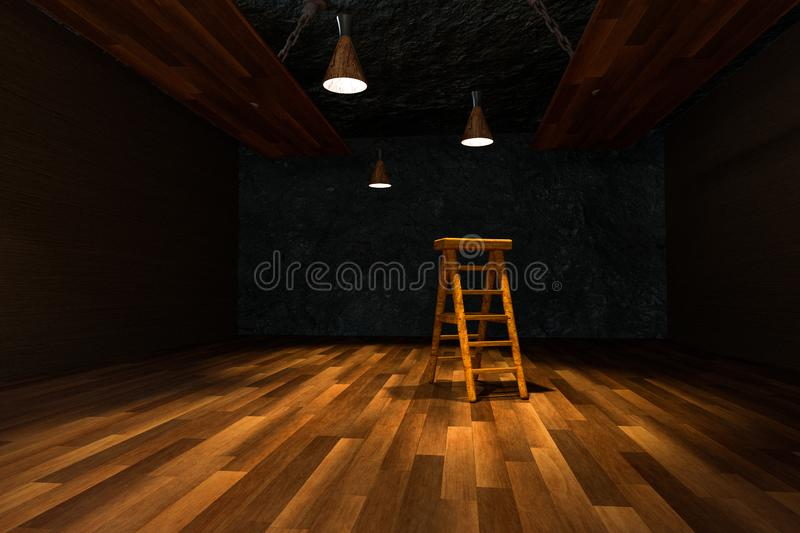 Wooden cellar with ladder and ceiling lamp inside, vintage warehouse, 3d rendering royalty free illustration
