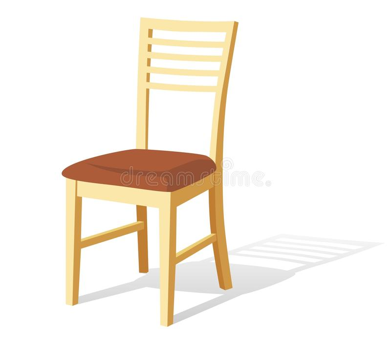 Wooden chair. Home wood chair, vector illustration