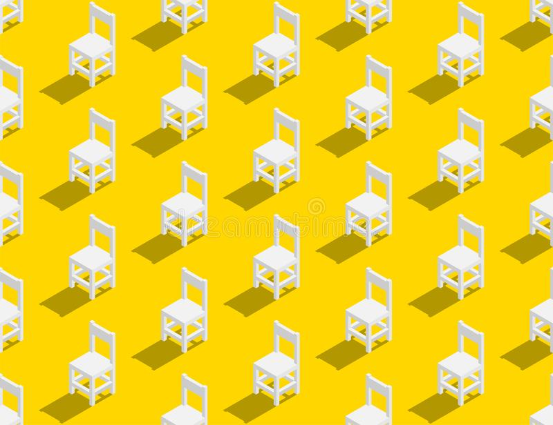 Wooden chair 3D isometric seamless pattern, Furniture lifestyle concept poster and banner square design illustration isolated on. Yellow background with copy vector illustration