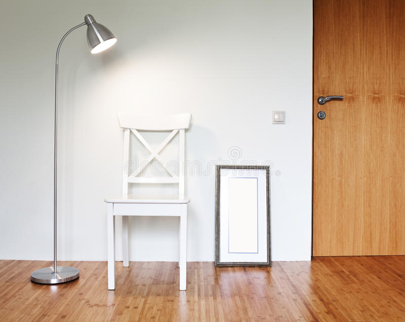 Wooden Chair With Floor Lamp Royalty Free Stock Photos