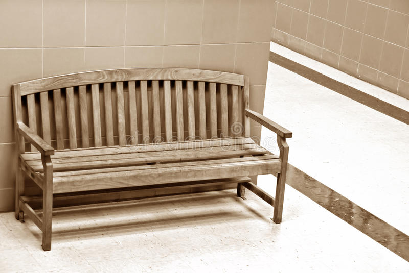 Wooden chair in a hallway royalty free stock images