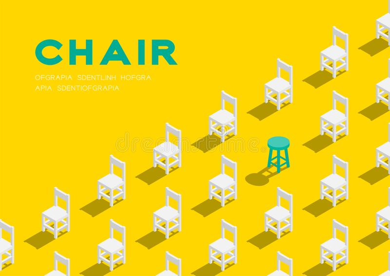 Wooden chair and stool 3D isometric pattern, Furniture lifestyle concept poster and banner horizontal design illustration isolated. On yellow background with royalty free illustration