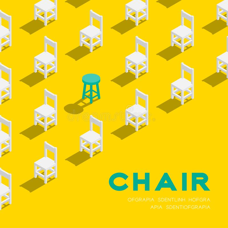 Wooden chair and stool 3D isometric pattern, Furniture lifestyle concept poster and banner square design illustration isolated on. Yellow background with copy royalty free illustration