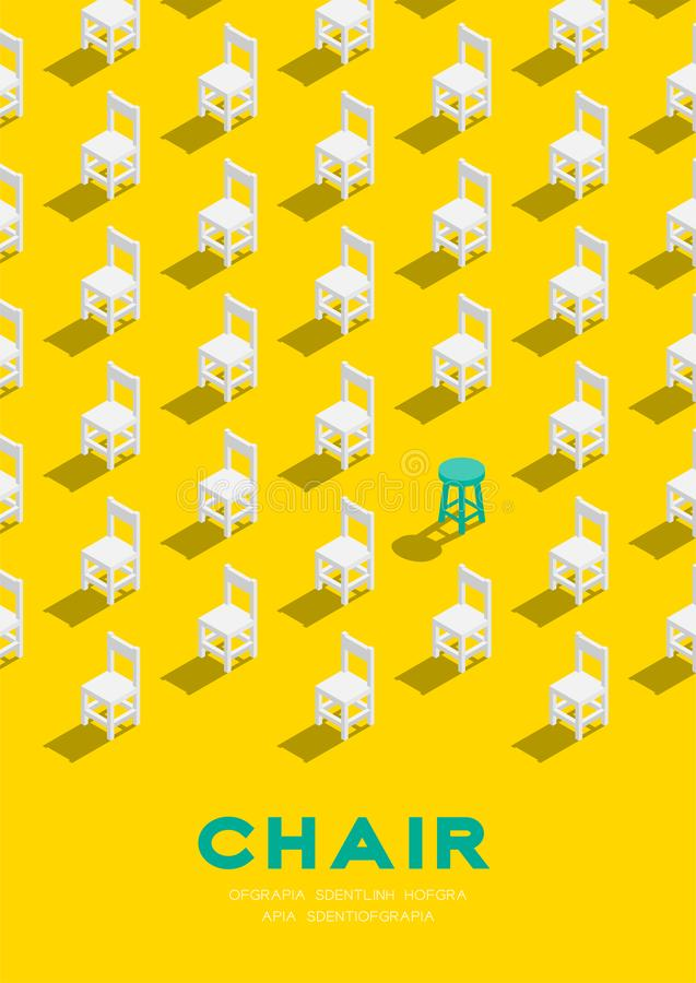 Wooden chair and stool 3D isometric pattern, Furniture lifestyle concept poster and banner vertical design illustration isolated. On yellow background with copy stock illustration