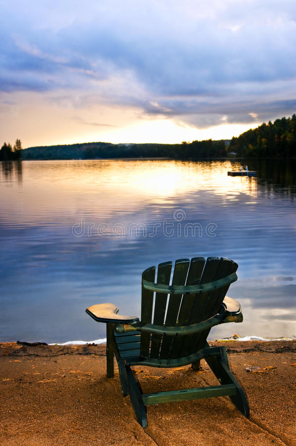 Download Wooden Chair At Sunset On Beach Stock Image - Image: 12666181