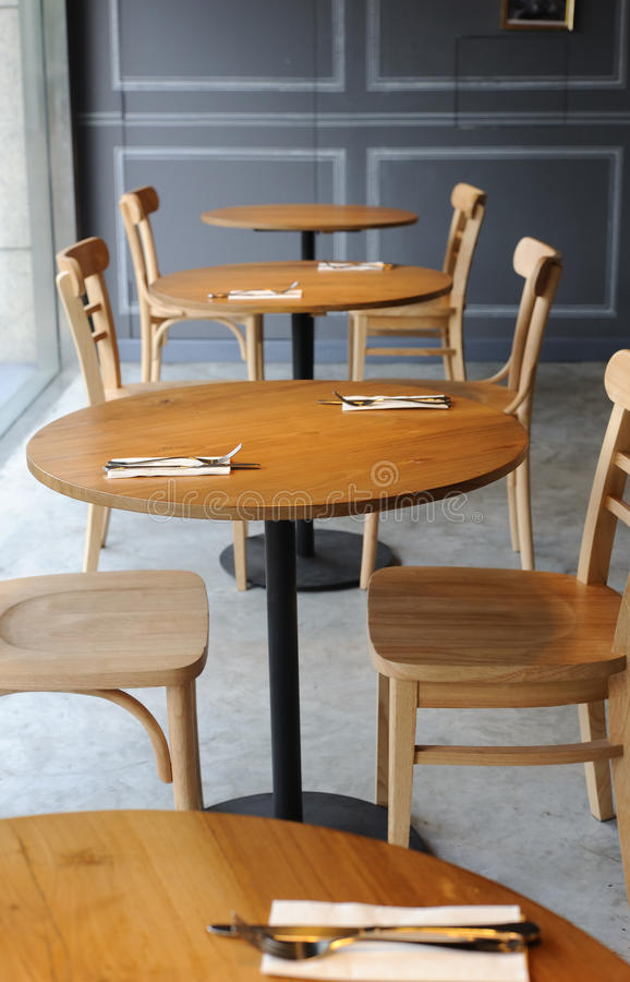 Download Wooden Chair And Table In The Corner Of Cafe Stock Photo   Image  Of Architecture