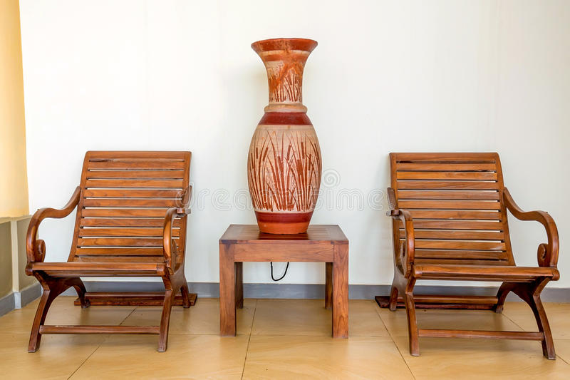 Wooden chairs as part of interior. In colonial style royalty free stock photography