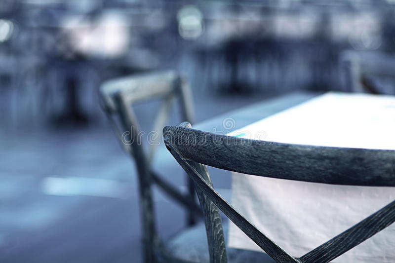 Wooden chairs in cafe royalty free stock images