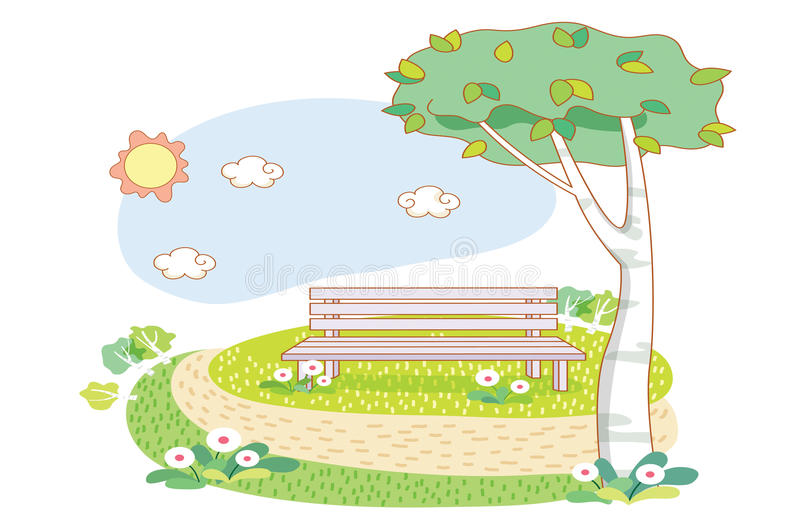 Wooden chairs cartoon and garden royalty free illustration