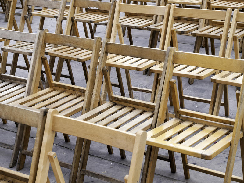 Wooden Chairs event. Wooden chairs in urban event, celebration and concert stock photography