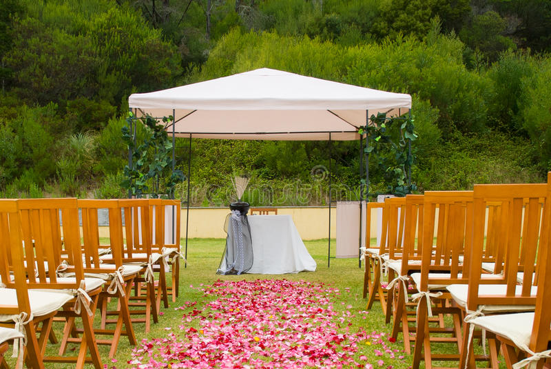 Wedding reception on the garden stock image