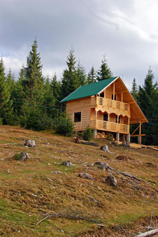 Wooden chalet construction stock images