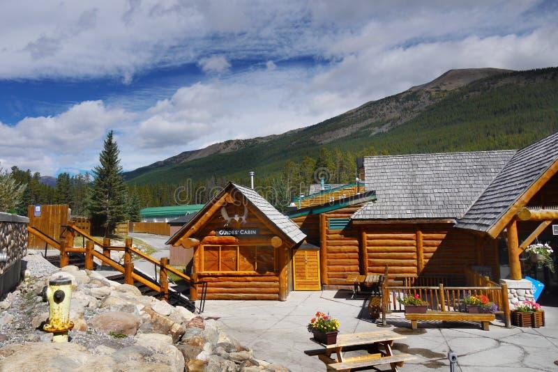 Lake Louise Ski Resort Gondola Summer, Banff NP. Wooden chalets - Lake Louise Ski Resort, Banff National Park. Alberta Canada stock photos