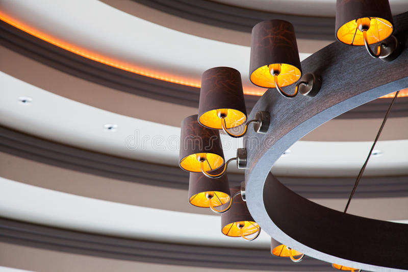 Wooden chandelier. stock images