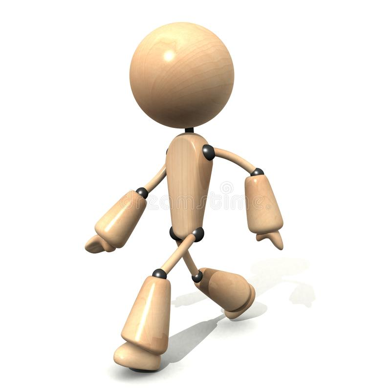 Wooden character walking royalty free stock images