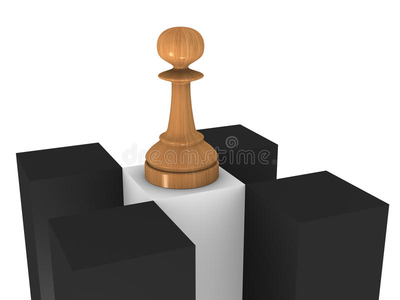 Wooden Chess Pawn Stock Image