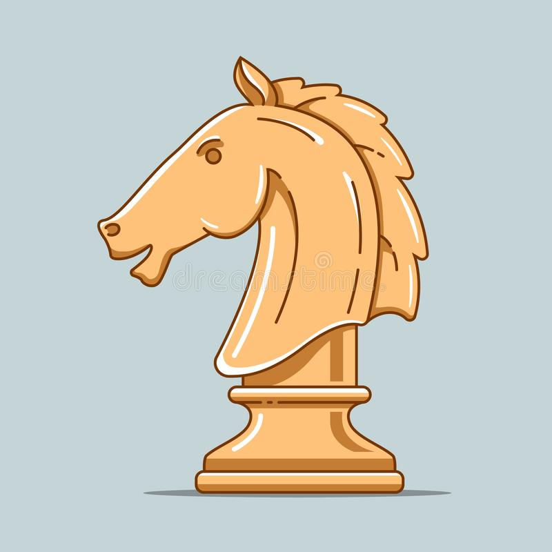 Wooden chess piece of horse. intellectual game. Strategic thinking. flat illustration stock illustration