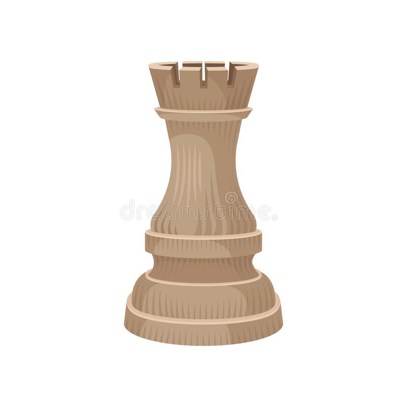 Wooden chess piece - rook castle or tower in beige color. Small figure of strategic board game. Flat vector icon. Wooden chess piece - rook castle or tower in royalty free illustration