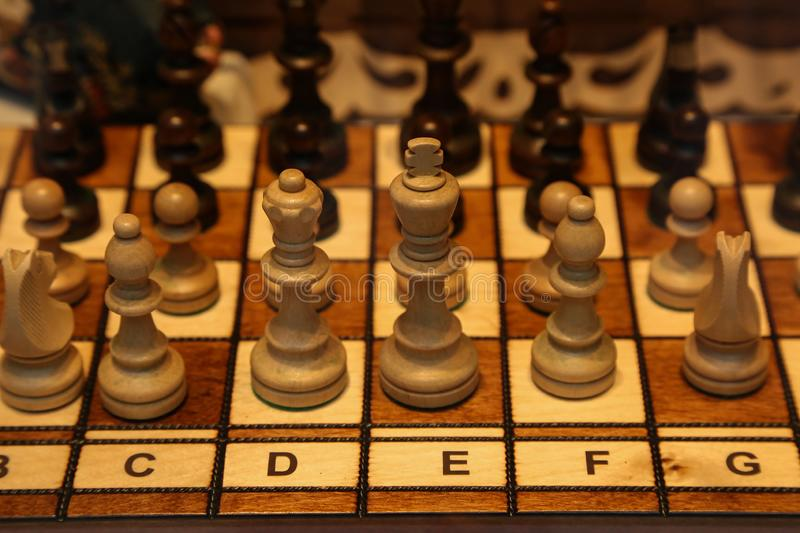 Wooden chess pieces stand on the board before the start of the new game.  royalty free stock images