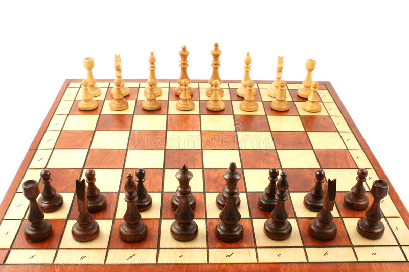 Download Wooden Chess On Wooden Chessboard Stock Photo - Image: 6126710