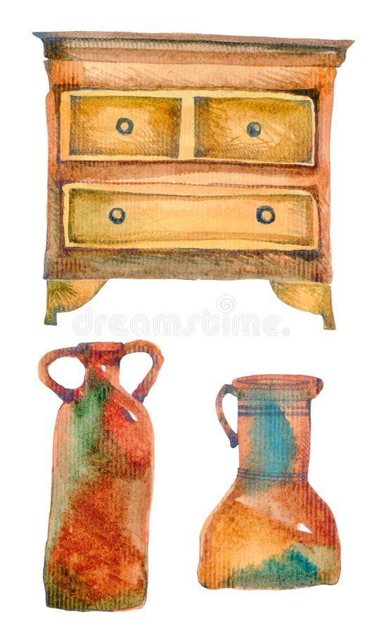 Old things: chest of drawers and jugs. stock illustration