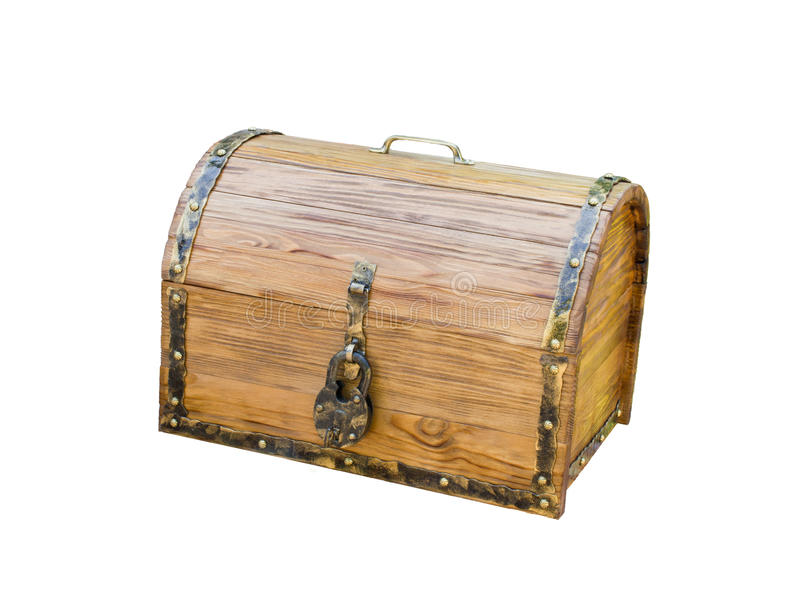 Wooden chest with lock in antique style stock image