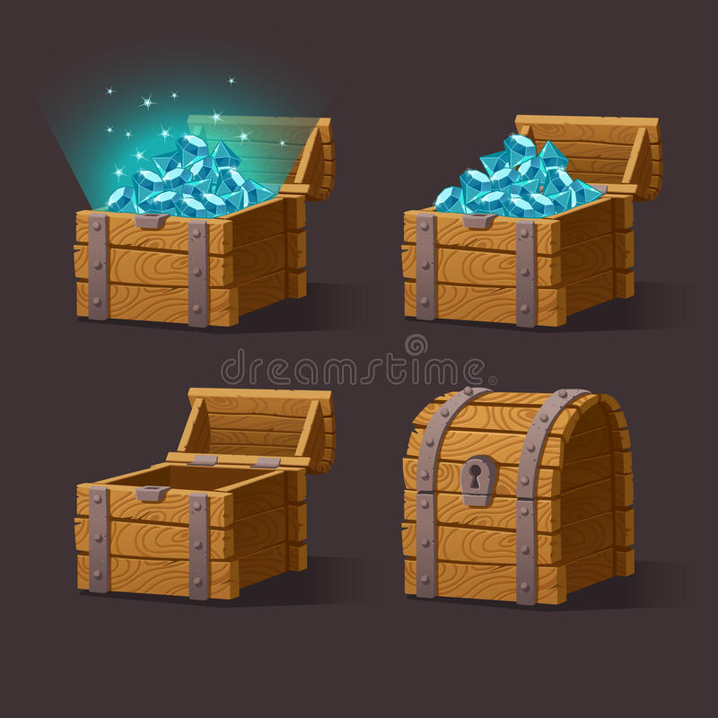 Wooden Chest set for game interface. Vector illustration.Treasure chest of blue crystals,gemstones,diamonds on dark background closed, empty, chest with gems stock illustration