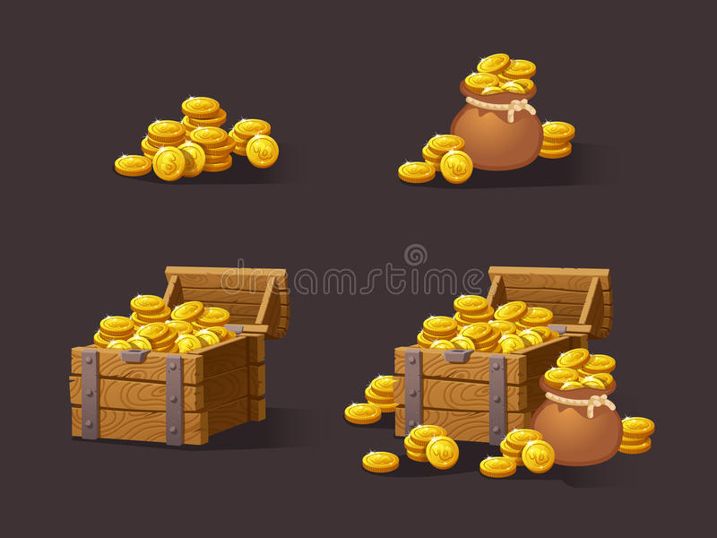 Wooden Chest set for game interface. Vector illustration. treasure of gold coins on dark background: closed, empty, chestes with golden coin.Icons cartoon vector illustration