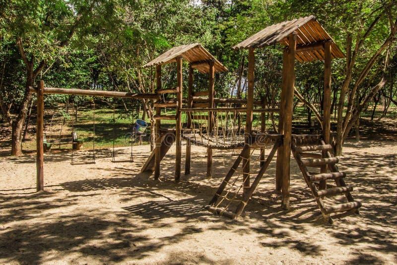 Wooden children playground stock photo