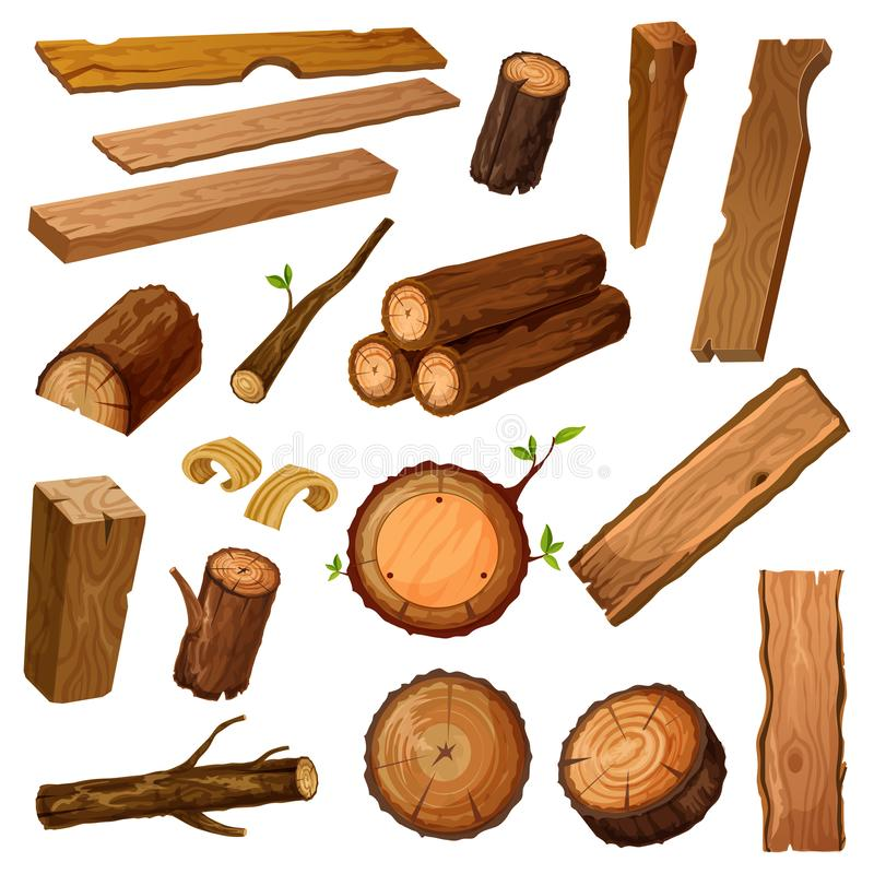 Wooden chips and bark, timber and stum. Wood. Set of isolated wood bark and tree log, brown timber trunk with wooden chips or flinders, stump or stub, textured stock illustration