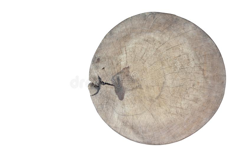 Wooden chopping board is a kitchen equipment isolated on white background. royalty free stock photos