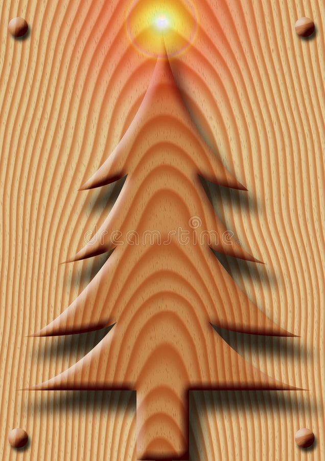 Wooden Christmas stock illustration
