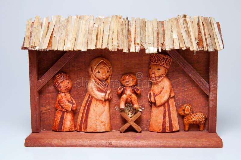 Wooden Christmas Crib stock image