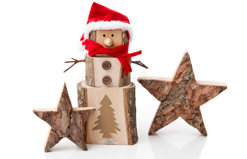 Download Wooden Christmas Decoration: Stars And Santa Hat O Stock Image - Image: 34863553