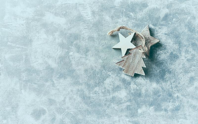 Wooden Christmas decorations on rustic background. stock images