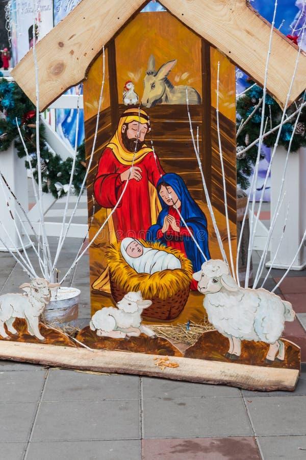 Wooden Christmas nativity scene. Holy family, Baby Jesus, the Virgin Mary and Saint Joseph royalty free stock photography