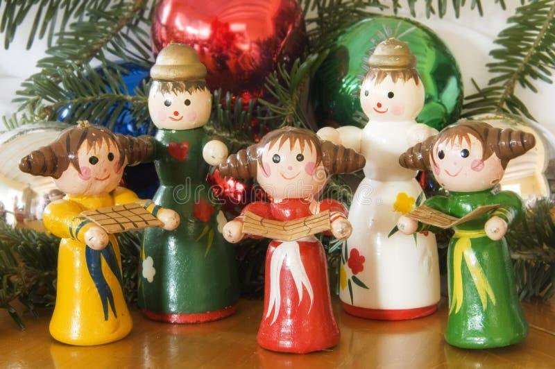 Wooden christmas ornaments stock photos