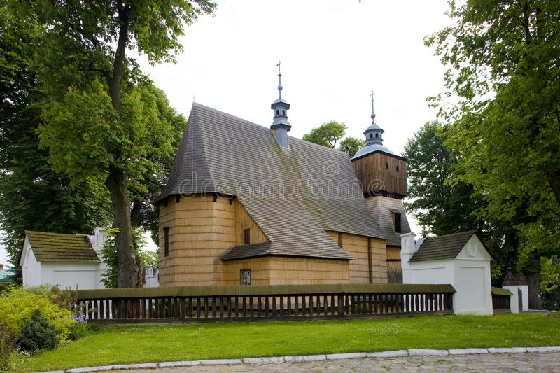 wooden church, Blizne, Poland stock photos