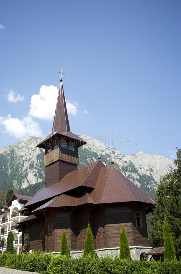 Wooden church in Caraiman monastery stock images