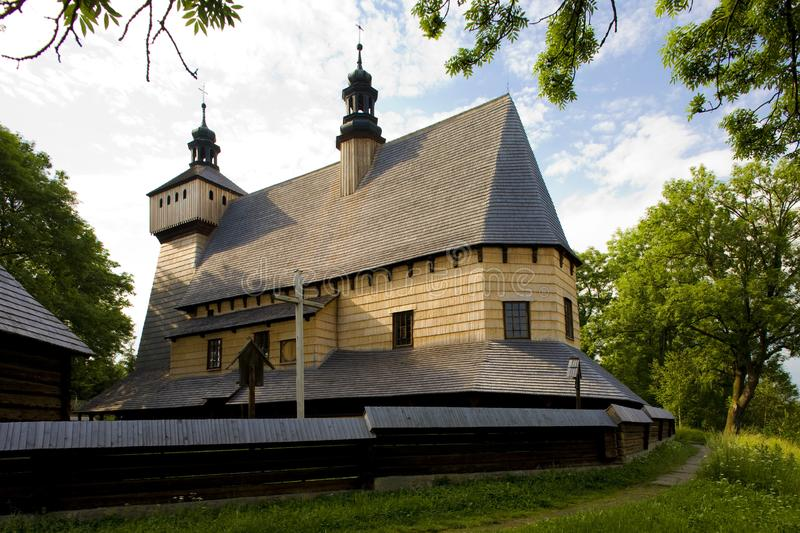 wooden church, Haczow, Poland royalty free stock photos