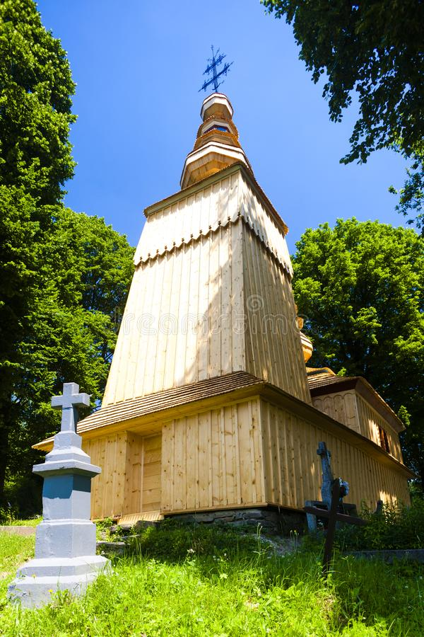 wooden church, Hunkovce, Slovakia royalty free stock photo