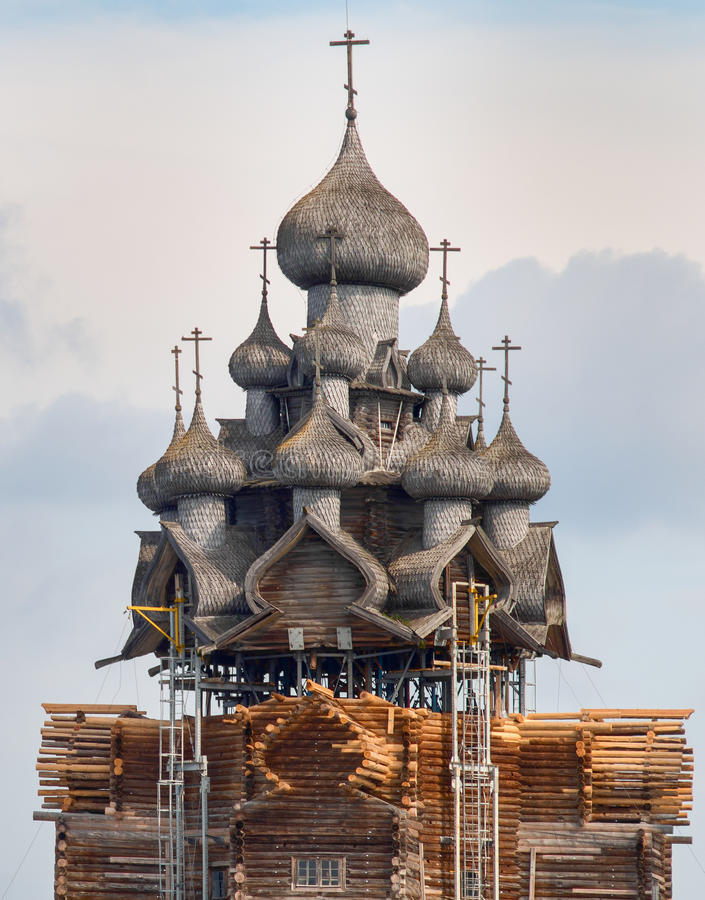 Wooden church on island Kizhi. Russia royalty free stock photo